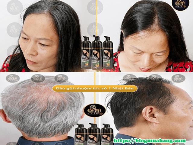 phản hồi của các cô chú sau khi dùng dầu gội đen tóc sin hair